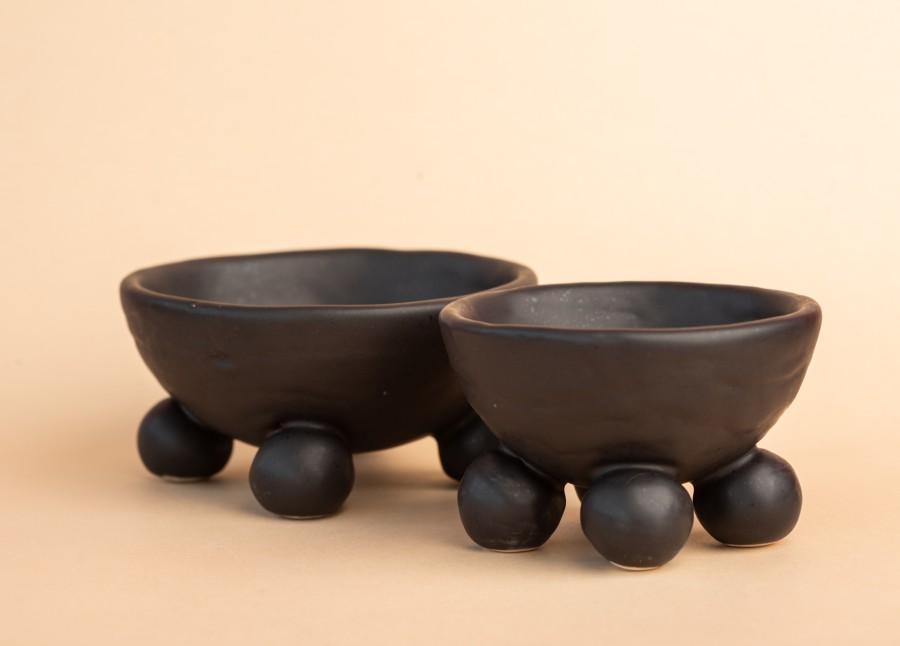 Black matt ceramic container