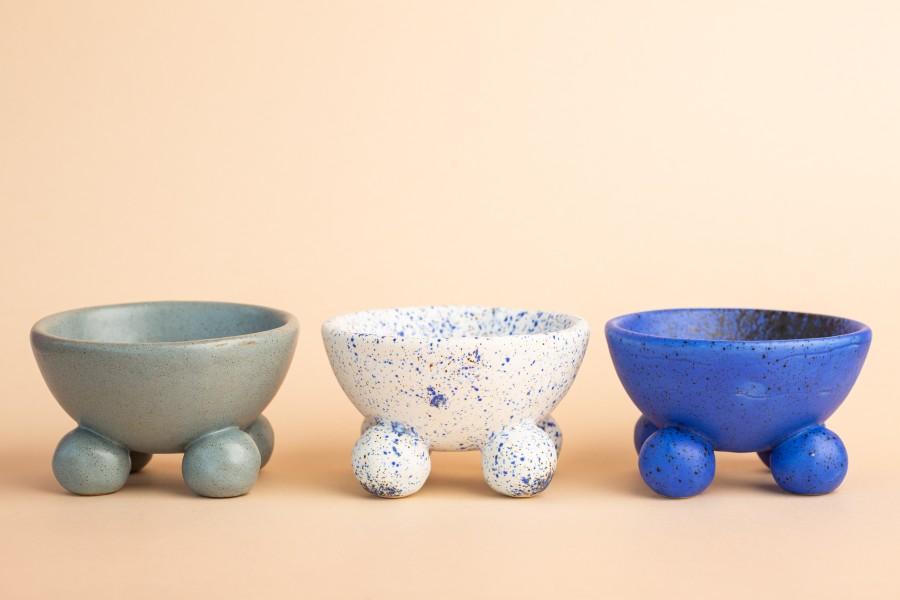 Bluish gray ceramic container